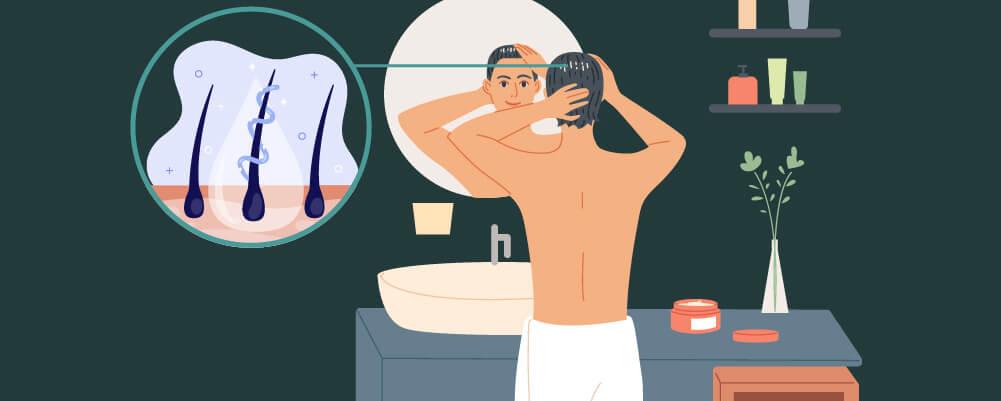 Man maintaining his hair to avoid hair loss